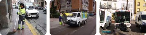 Operadores limpiando la vía pública